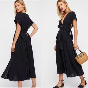 New Free People Jacinta Midi Dress Black